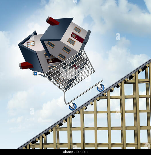 Rising house prices and home price price increase or growth as a soaring real estate value financial concept and - Stock Image