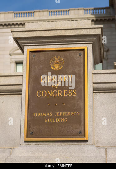 WASHINGTON, DC, USA - The United States Library of Congress, Thomas Jefferson Building plaque. - Stock-Bilder