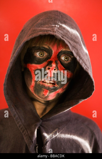 A boy with face paint, portrait - Stock-Bilder