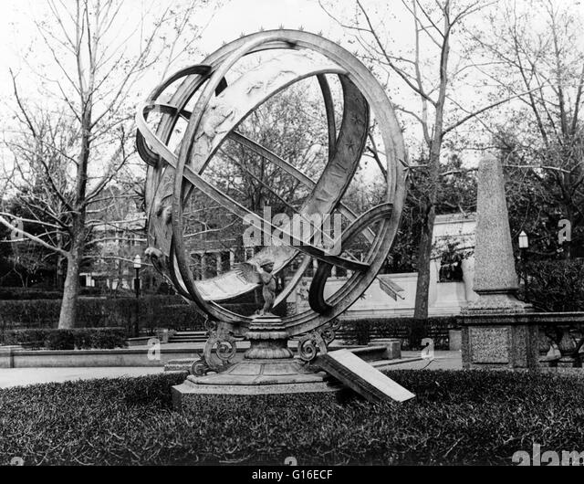 Entitled: 'Armillary sphere at exedra, Meridian Hill Park, bounded by Fifteenth, Sixteenth, Euclid & W Streets, - Stock Image