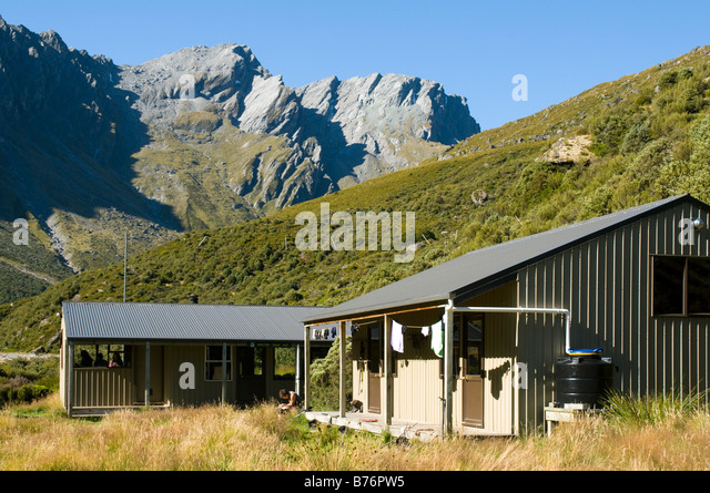 The Shelter Rock Hut, Rees Dart track, South Island, New Zealand - Stock Image