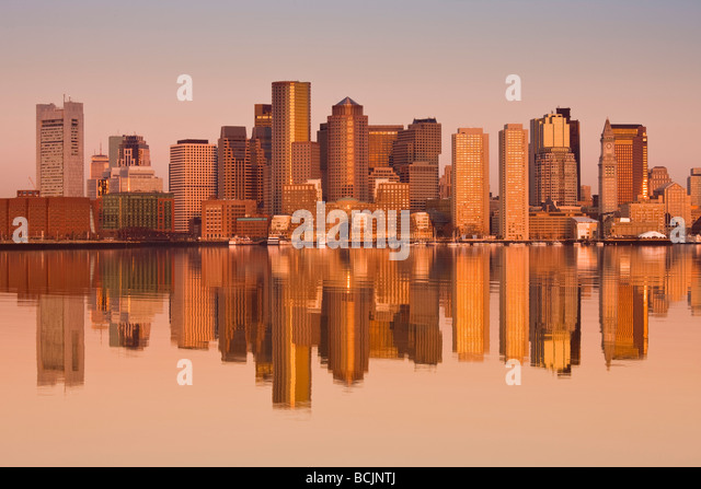 USA, Massachusetts, Boston, Financial District from Logan Airport, East Boston - Stock Image