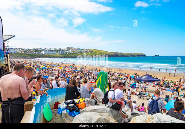 A crowded fistral beach for the annual boardmasters surfing competition at newquay in cornwall, uk - Stock Image