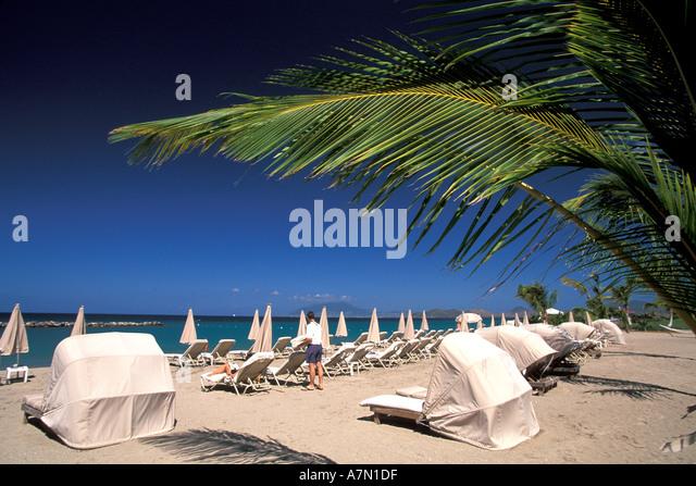 Nevis Pinneys Beach at the Four Seasons Resort - Stock Image