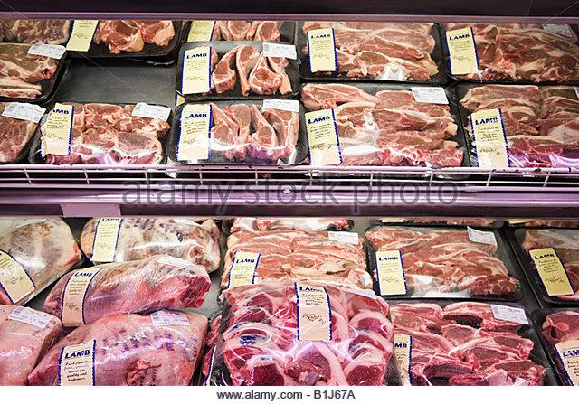 Lamb in supermarket - Stock Image