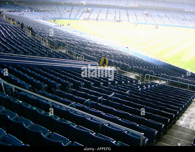 Empty Bleachers After a Major League Baseball Game at Yankee Stadium in The Bronx New York City - Stock Image