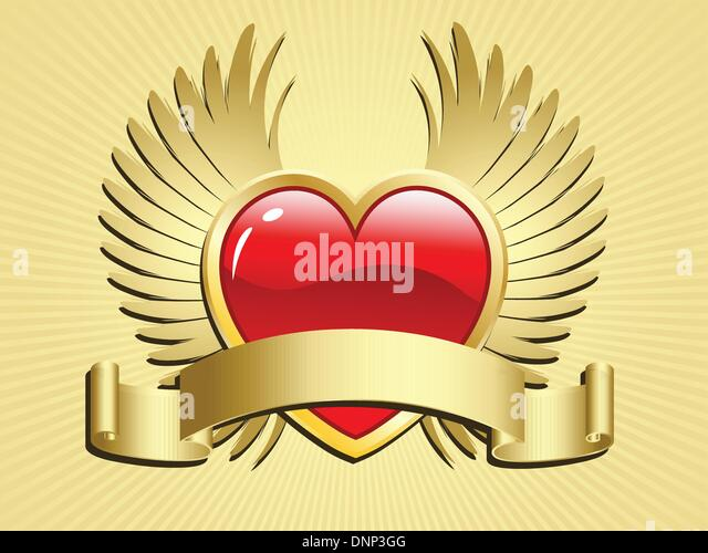 Valentines day heart with wings and scroll - Stock Image