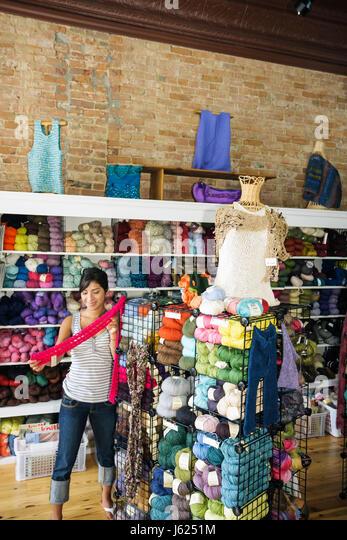 Indiana Valparaiso Sheep's Clothing knitting supplies yarn wool multi-color craft hobby business retail display - Stock Image
