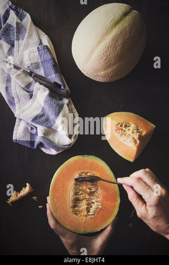 Canteloupe melon having seeds removed - Stock Image