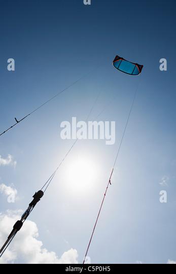 Kitesurfing, low angle view - Stock Image