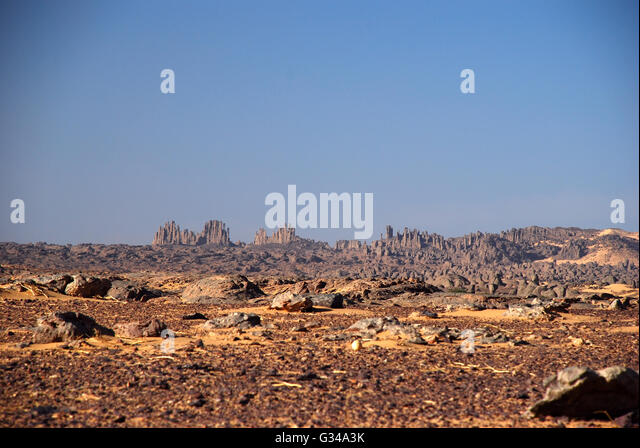 Panoramic view Algeria desert - Stock Image