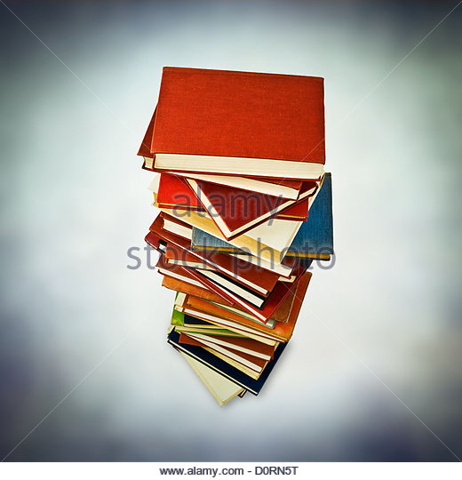 tower of books - Stock Image