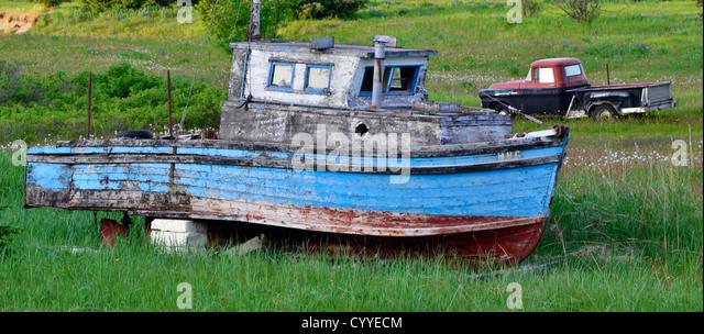 Old boat in Gustavus, Alaska. - Stock Image