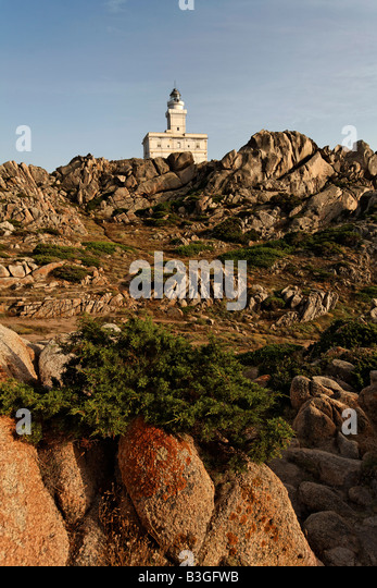 Italy Sardinia Capo Testa bizarre rock landscape lighthouse - Stock Image