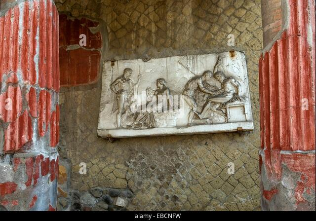 antiquity Archaeological site archaeology bas-relief bury Campania casa colonne color image column Europe excavation - Stock-Bilder