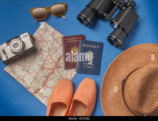 Travel vacation objects on a background - Stock-Bilder