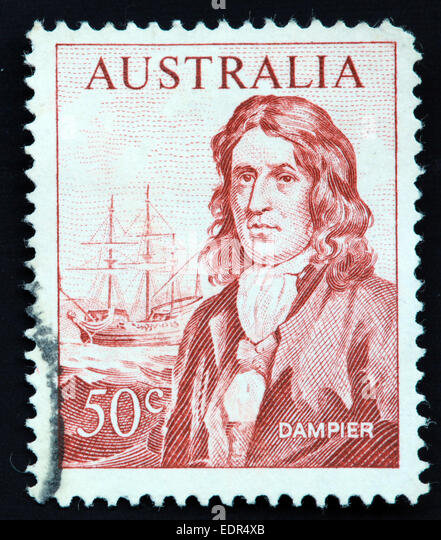Used and postmarked Australia / Australian Stamp 50c Dampier with the 'Roebuck' sailing ship - Stock Image
