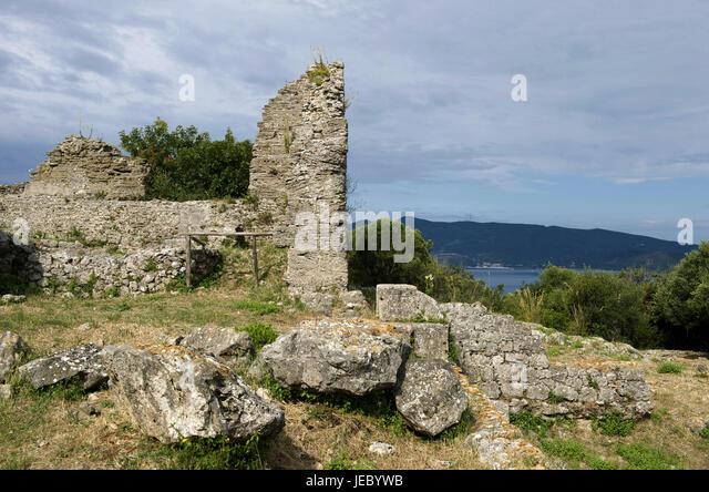 Italy, Tuscany, La Maremma, Ansedonia, Cosa, ruin, decayed defensive wall, - Stock Image
