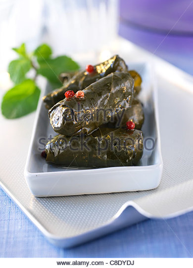 Stuffed vine leaves - Stock Image