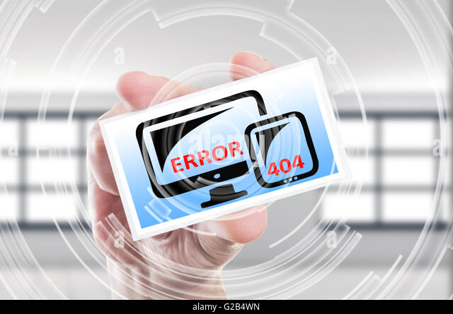 Futuristic error 404 page not found concept on computer monitor and mobile tablet or smartphone - Stock Image