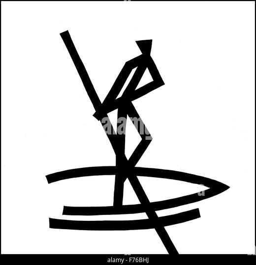 Illustration line drawing of boatman rowing - Stock Image
