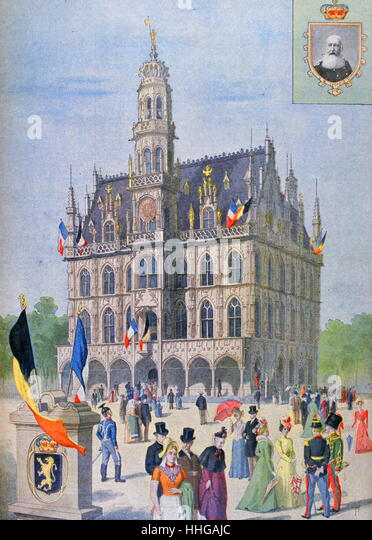 Illustration showing the Belgian Pavilion, at the Exposition Universelle of 1900. - Stock Image