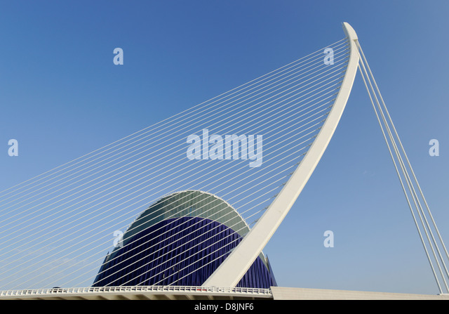 Puente de l'Assut de l'Or and Agora, City of Arts and Sciences, Valencia, Spain - Stock Image