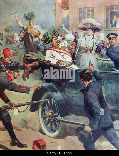 Assassination of Archduke Franz Ferdinand of Austria on 28th June 1914, - Stock Image