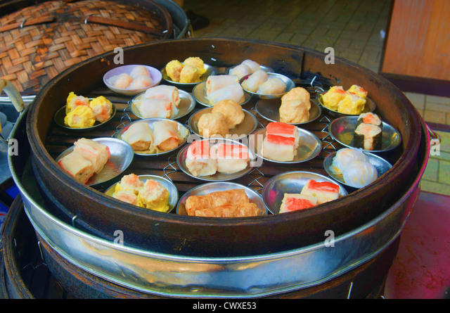 delicious dim sum for sale in Chinatown in Penang Malaysia - Stock ...
