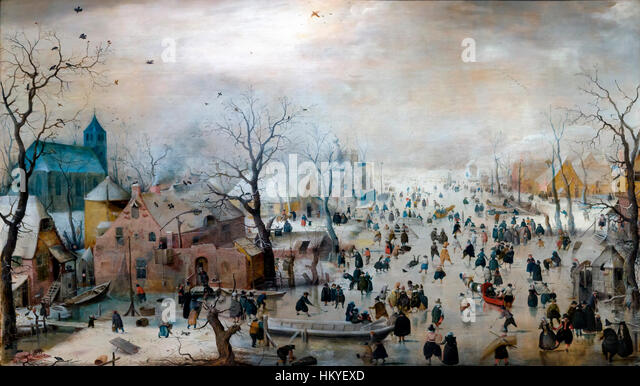 Winter Landscape with Ice Skaters, by Hendrick Avercamp, circa 1608, oil on panel, Rijksmuseum, Amsterdam, Netherlands, - Stock Image
