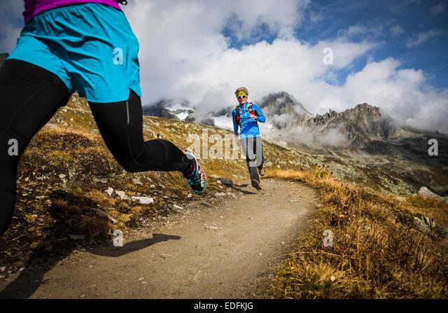 Trail Running, Furka, Switzerland - Stock-Bilder