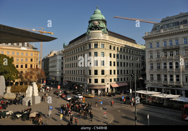 Landmarks of Vienna city center, Wein, Austria - Stock Image