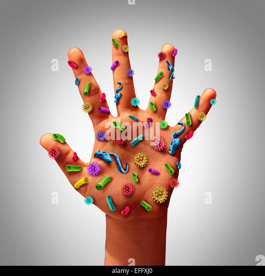 Hand germs disease spread and the dangers of spreading illness in public as a health care risk concept to not wash - Stock Image