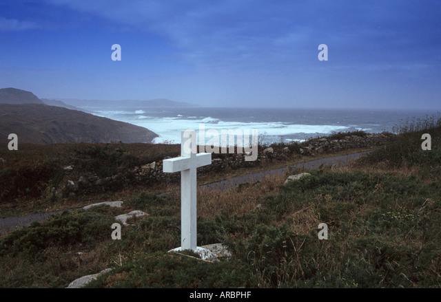 a percebeiros, cross in Costa da Morte near Camarinas Galicia Spain - Stock Image