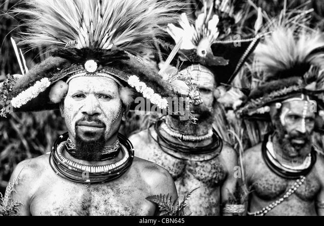 Colorful Huli Wigmen of Papua New Guinea - Stock-Bilder