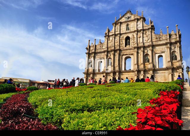 Ruins of St. Paul's in Macau - Stock Image