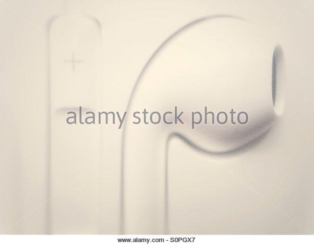 Macro Image of Apple Iphone Ear Bud Headphones in its Case - Stock Image