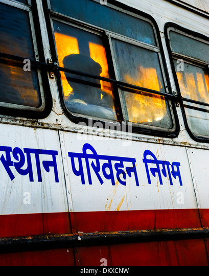 Indian bus, rider silhouette in window - Stock-Bilder