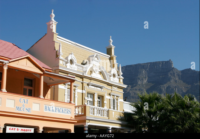 south africa cape town Long street colonial architecture table mountain - Stock Image