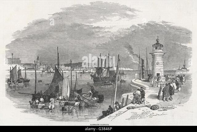 Ramsgate Harbour         Date: 1850 - Stock-Bilder