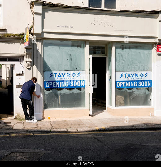 New Greek restaurant being prepared to open in Falmouth, Cornwall 4th June 2016 - Stock Image