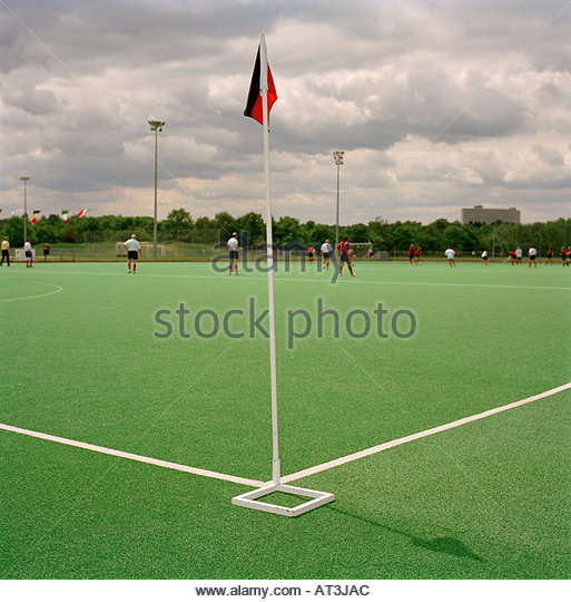 Corner flag in field hockey - Stock Image