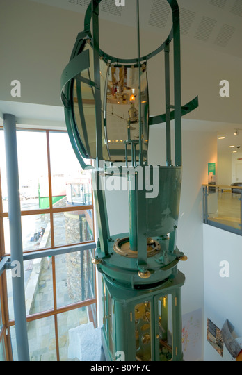 Lamp from an old lighthouse in the Shetland Museum and Archives, Hay's Dock, Lerwick, Shetland Islands, Scotland, - Stock Image