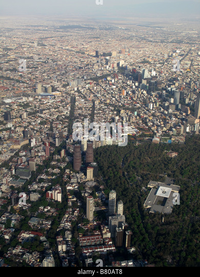 Aerial photograph showing Mexico City the capital city of Mexico Greater Mexico City has a population of 19 million - Stock Image
