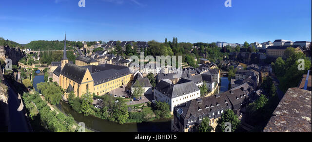Luxembourg City - Ville de Luxembourg. Panoramic view of St John Neimenster and the Grund area of the city. - Stock Image