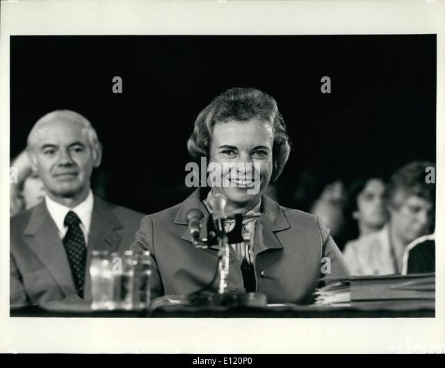 Sep. 09, 1981 - Judge O'Connor Testifies Arizona Judge Sandra O'Connor (above) as she testifies before the - Stock Image