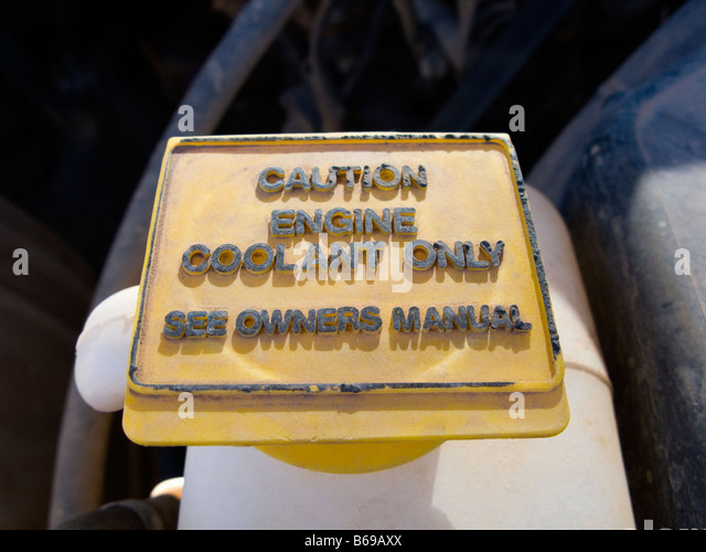 Radiator coolant overflow cap - Stock Image