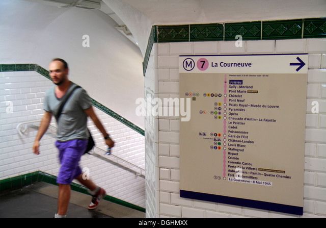 Paris France Europe French 5th arrondissement Jussieu Metro Station Line 7 subway public transportation rider passenger - Stock Image