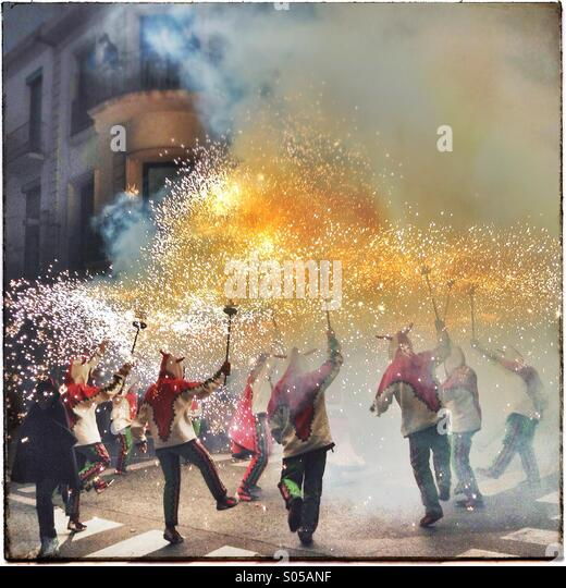 Correfoc, fireworks, Les Santes, Mataró city festival, July, Barcelona, Spain. Fire games in Catalonia - Stock Image