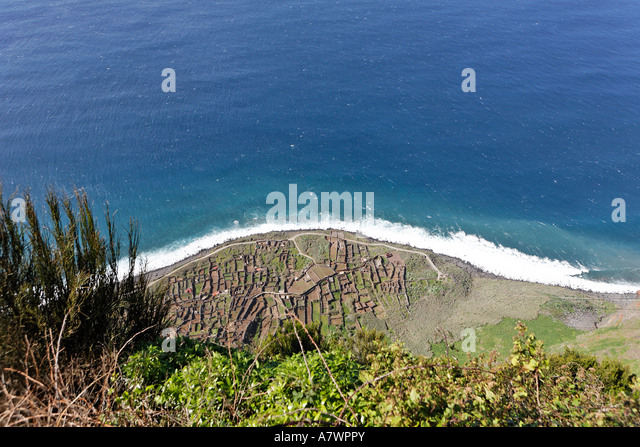 Fields at the bottom of the cliffs which are only reached by cable car, Achadas da Cruz, Madeira, Portugal - Stock Image